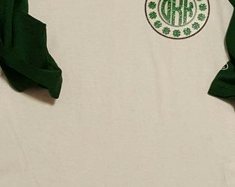 Personalized Shamrock Frame Monogram Youth Shirt/Youth St Patrick's Day Shirt/Youth St Patty's Day Shirt