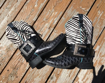 Black Zebra Fur Cowboy Boots Size 10 - Square Toe Boots - UPCycled Cowgirl Boots - Boho Boots