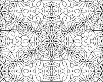 Kaleidoscope Adult Coloring Page - Calm Kaleidoscopes, Volume 1, Page 5 | Printable Instant Download