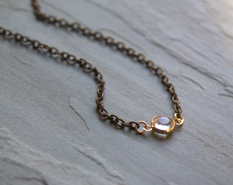 Floating Crystal Necklace, Tiny Crystal Pendant Necklace, Crystal Choker, Gold Filled Chain, Single Crystal Link, Mixed Metal Necklace