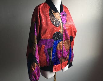 vintage 90s picasso bomber jacket metallic flecked made in korea