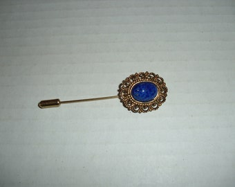 Stick Pin.   Speckled  Blue Cabochon Stone