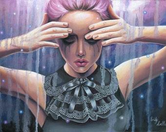 Dark Emotive Figurative Oil Painting - Fine Art Print by Emily Luella