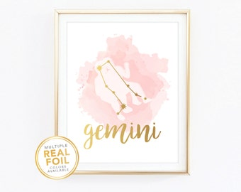 Gemini Zodiac Sign Constellation Girls Nursery Watercolor- Gold foil print, Real Foil Print, Home Decor, Wall Art, Gallery wall 8x10
