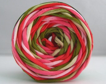 T Shirt Yarn, Hand Dyed, Watermelon Green/Pink/Red, 60 yards, Red Yarn, Pink Yarn, Green Yarn, T-Shirt Yarn, T Shirt Yarn