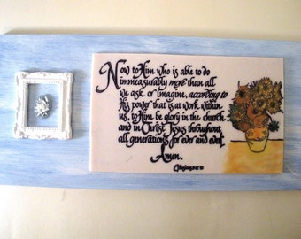 Verse Art SALE.  Now to Him who is able to do immeasurably more than we can ask or imagine...Ephesians 3:20-21.  Biblical Scripture Plaque