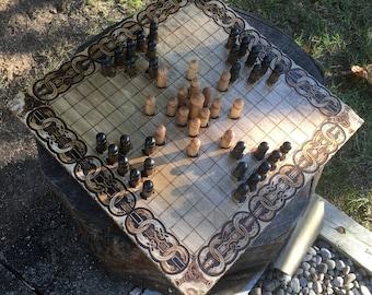Sea Battle Hnefatafl: Modern Hnefatafl Variant, Wooden Strategy Board Game, handcrafted & customizable - Viking Tafl Game - MADE TO ORDER