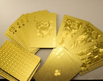 Gold Poker playing cards 24k karat game throwing card