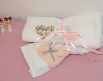Dusty rose and gold diapers 60 x 60 hearts duo