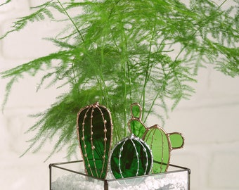 Mini glass cactus. Stained glass. Handmade. Terrarium decor. Low price. Birthday gift. Sun catcher. Planter. Ornemental plant.