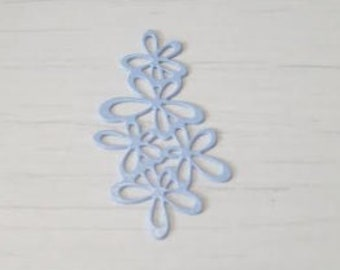Blue flower garland watermark print