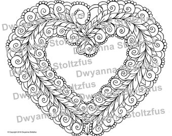 Floral Heart Coloring Page JPG