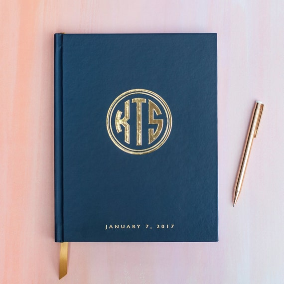 Wedding Guest Book with Real Gold Foil guestbook custom monogram book personalized instant photo wedding guestbook sign in hardcover navy