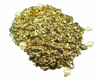 Belt buckles,  gold tone metal with small faux pearls