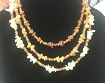 Let the Chips Fall - Multi Strand Gemstone and Amber Necklace