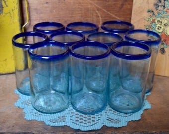Set of 10 Vintage Mexican Hand Blown Glass Tumbler Drink Cup Glasses with Cobalt Blue Rims