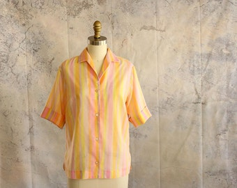 vintage 60s cotton top by Lady Arrow . thin sheer pastel striped button up blouse with cuffed sleeves . brushstroke watercolor wash stripes