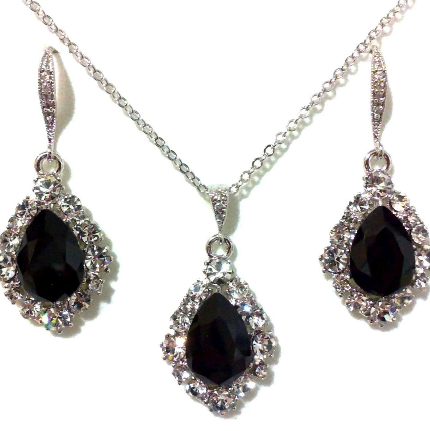 Black Bridal Jewelry Set Gothic Wedding Earrings Swarovski