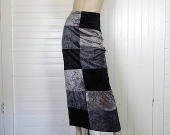 90s Grayscale Skirt in Crushed Velvet- 1990s Vintage Gray Silver & Black Maxi Skirt- Straight, Goth, Cyber Punk, Club, Buffy