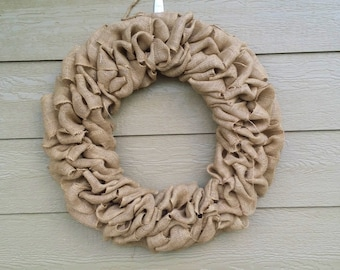Burlap Wreath - XX-Large 30 inch - Tan Burlap Wreath HUGE!!!!