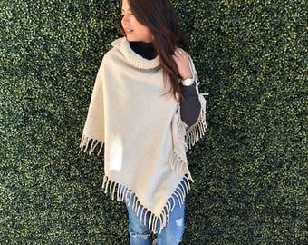 Wool Poncho/ Handmade/ Hand Embroidered Poncho