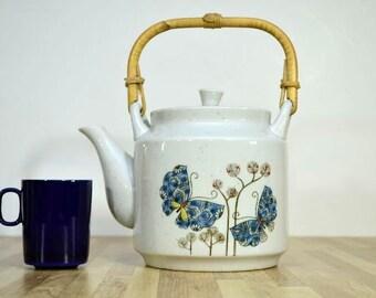 Vintage Schmetterling Keramik Teekanne Bambus Korb Rattan Griff japanische Teekanne