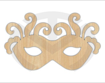 Unfinished Wood Mardi Gras Mask Laser Cutout, Wreath Accent, Door Hanger, Ready to Paint & Personalize, Various Sizes