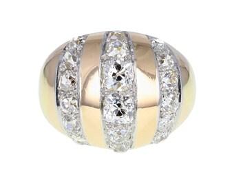 Retro Bombé Old-Cut Diamond Cluster Ring