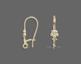 100pcs Earring Finding Gold Earwire 23mm Kidney With 4x4mm Flower 20 Gauge