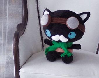 Black Cat Soft Toy Steampunk Stuffed Plushie Cuddly Chibi Handmade Kawaii Cute