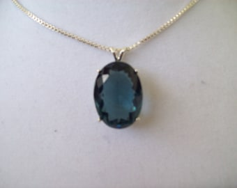 Created London Blue Topaz Pendant in Sterling Silver, Comes with chain
