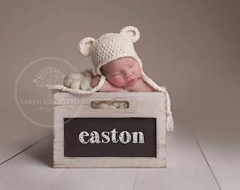 NEWBORN Hat, Baby Boy Hat, Baby Girl Hat, Baby Boy Teddy Bear Hat, Boy Hat, Baby Cream Hat, Newborn Photo Props, Kids, Baby Shower Gift,