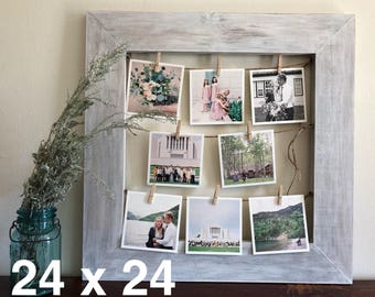 Rustic Clothespin Picture Frame / Photo Display - Wedding Display - Clothesline Collage - Includes line and small pins 24x24