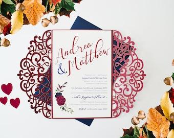 Burgundy Invitation, Laser Cut Invitation, Deep Red Wedding Invitation, Winter Wedding Invitation, Autumn Wedding Invite, Winter Wonderland