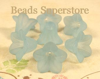 FINAL SALE 18 mm x 12 mm Turquoise Lucite Flower Bead - 10 pcs