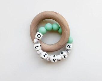Teething Toy / Teething Ring / Personalised Teething Toy / Teething Bracelet / Teething Ring Wood / Teething Rattle