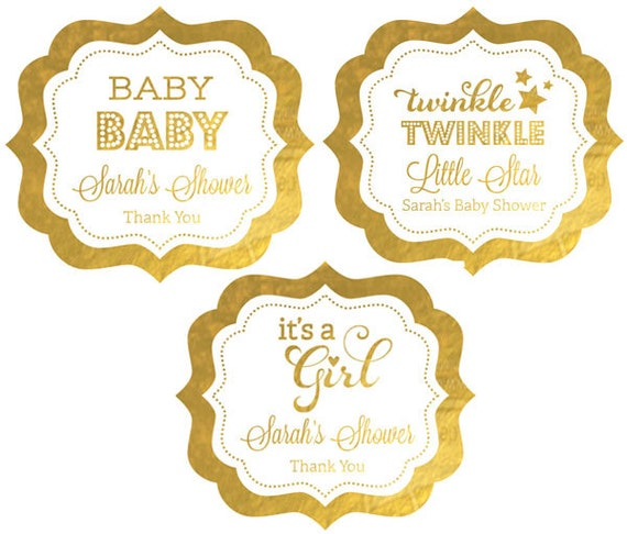Pink And Gold Baby Shower Labels Its A Girl Baby Shower