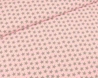 Cotton Jersey Star Light grey on pink (14.90 EUR/meter)