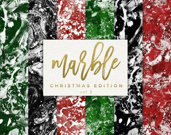 Christmas Marble Background / Marble Digital Paper / Black Marble Paper / Modern Christmas / Christmas Background / Red and Green Paper