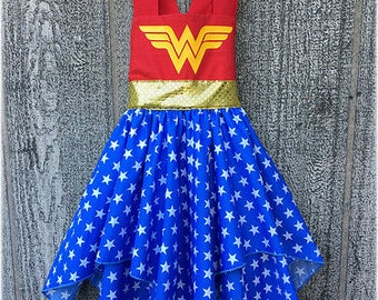 Superhero Wonder Woman Girl Dress, Superhero Wonder Girl  Costume, Superhero Birthday Party Dress, Boutique Girl Clothes Dress Up