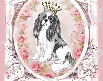 Cavalier King Charles Spaniel/Collage/Card/Valentine/Love/Roses