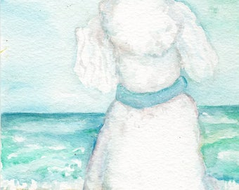 Poodle Watercolors Paintings Original 5 x 7 Dog art, Beach, small original watercolor painting poodle portrait art