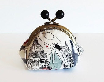 Retro Style Coin Purse, Paris Print Fabric, Kiss Lock Coin Pouch, Stocking Filler