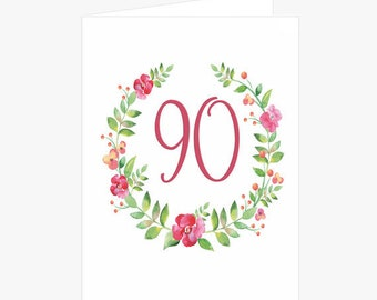 Pretty 90th Birthday Card, Flower Wreath Birthday Card, Pink, Green, Birthday Card for Mom, Card for her, Card for Grandmother
