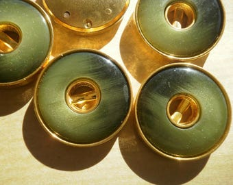 Set of 3 round buttons, plastic, green and gold color, 23 mm diameter