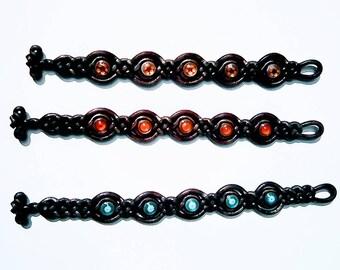 Braided leather bracelet with 5 enamel stones