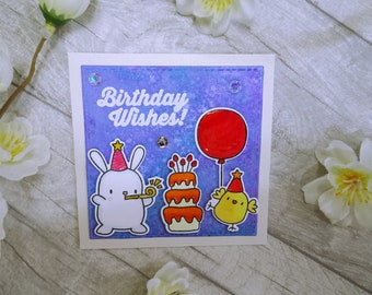 Cute little Handmade Bunny & Chick Birthday Wishes Card, Mama Elephant Party Animals, Whimsical Birthday Card, Birthday Cake Card