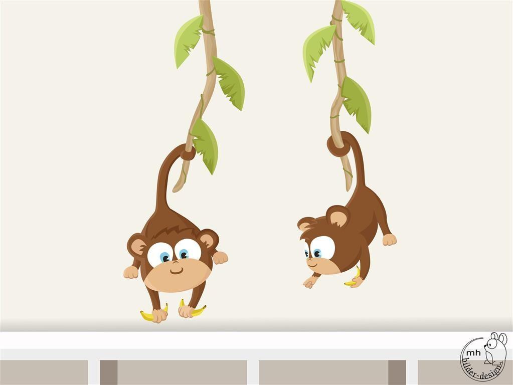 Wandtattoo Baby Affen Dschungel Kinderzimmer