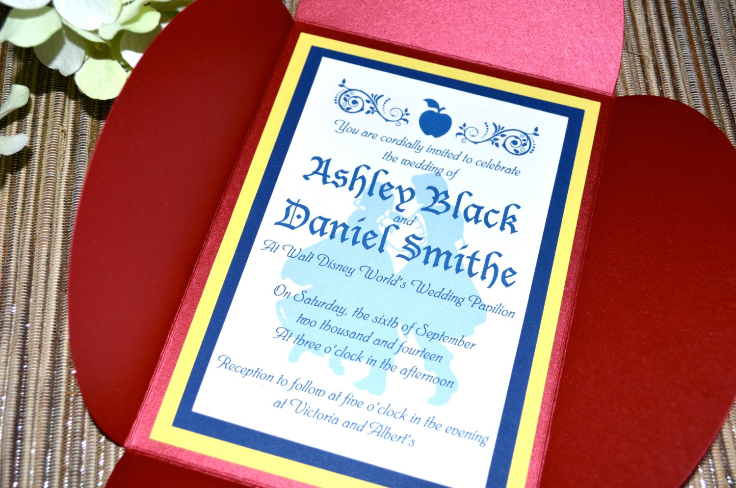 Fairy Tale Wedding Invitations - Snow White, Petal Fold