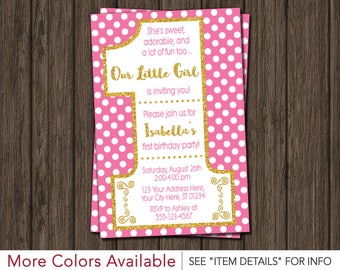 First Birthday Invitation | Pink and Gold 1st Birthday Invitations